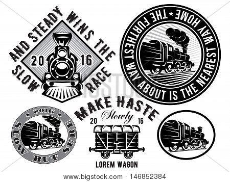 set of vector templates with retro locomotive wagon vintage train logotype illustration to topic railroad