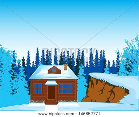 The Small lodge on glade in wood in winter.Vector illustration