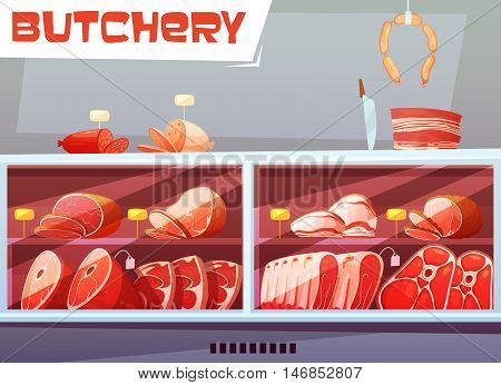 Storefront of butchery shop design concept with price labels and meat products made from pork and beef flat vector illustration