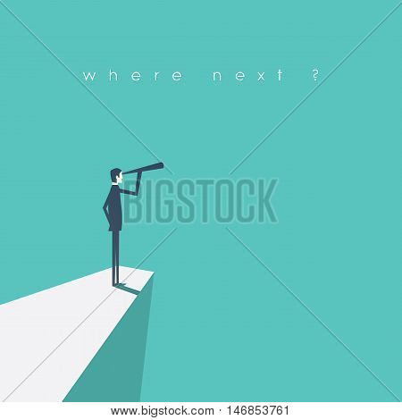 Visionary leadership concept vector illustration with business man looking through telescope from a cliff. Eps10 vector illustration.
