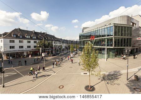 SIEGEN GERMANY - SEP 1 2016: Main square in the city center of Siegen. North Rhine-Westphalia Germany