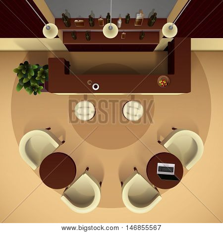 Hall lobby interior realistic top view with bar and drinks vector illustration