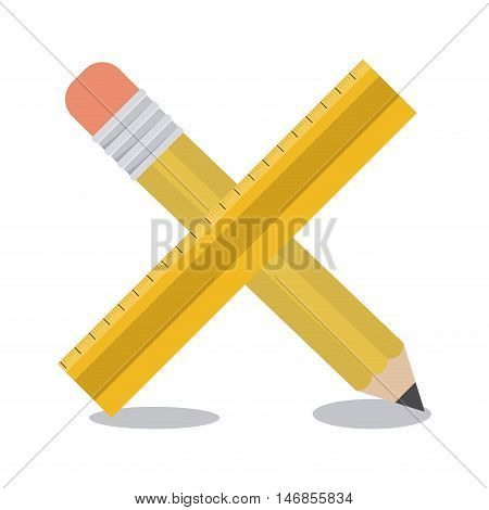 Pencil and ruler tool icon. Draw write school and instrument theme. Colorful design. Vector illustration