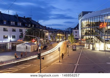SIEGEN GERMANY - SEP 1 2016: Street in the city of Siegen at night. North Rhine Westphalia Germany