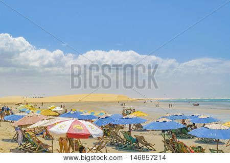 JERICOACOARA, BRAZIL, DECEMBER - 2015 - People at the most famous beach of Jericoacoara in Brazil