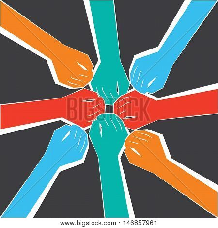 A circle of People united for a purpose.Hands joined for a collaboration. poster
