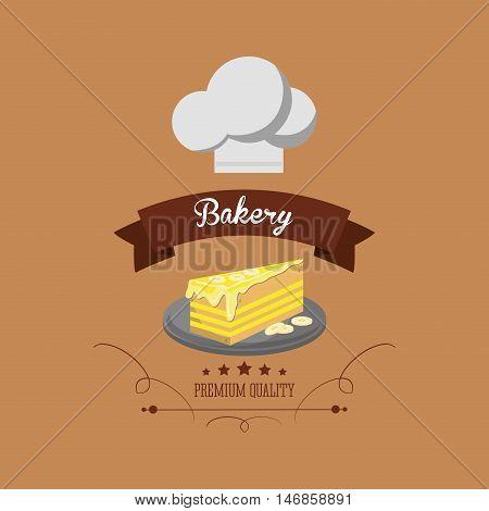flat design cake bakery related emblem image vector illustration
