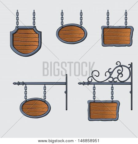 set of vector medieval wood sign hanging on chains isolated on white