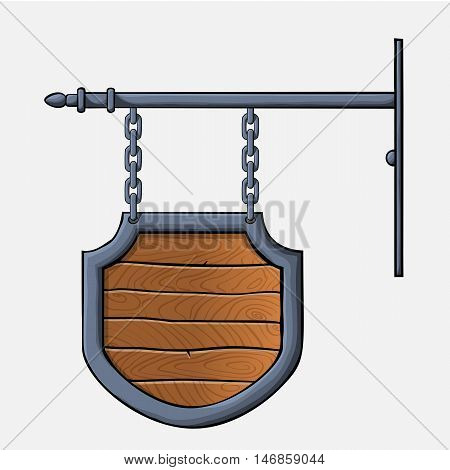 vector medieval wood sign hanging on chains isolated on white