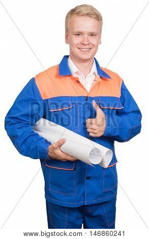male construction worker in a blue uniform Make changes to the plan isolated on white background