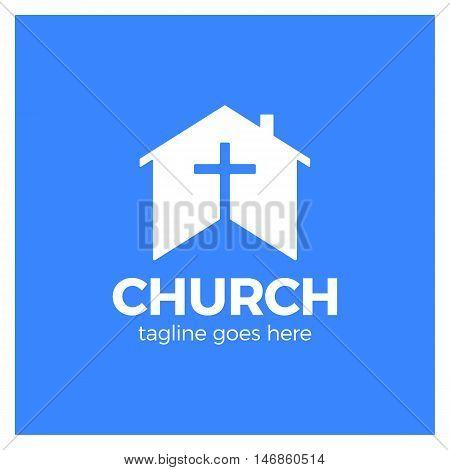 Home Church Logo. House Bible Logotype. Calvary Cross Silhouette Negative Space