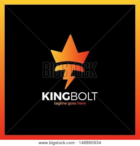 King Bolt Logo. Box Negative Space Volt Crow Flash Logotype