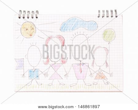 Family on the notebook sheet. Kids drawing happy parents with children holding hands.  Father, mother, son and daughter together on page notepad - isolated on white background.