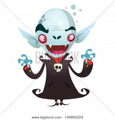 Cute cartoon vampire smiling. Vector illustration for Halloween
