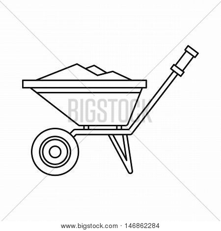 Wheelbarrow icon in outline style on a white background vector illustration