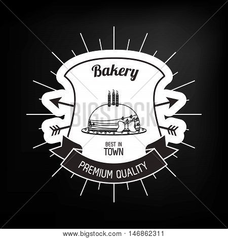 flat design black and white bakery related emblem image vector illustration