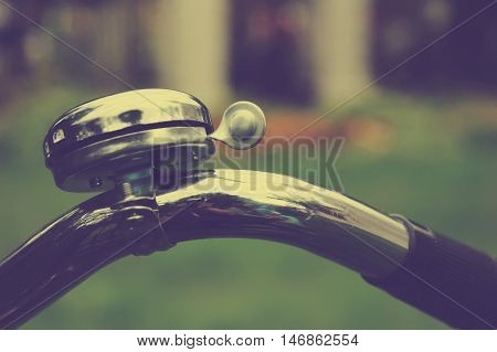Bicycle handlebar with new shiny metal bell
