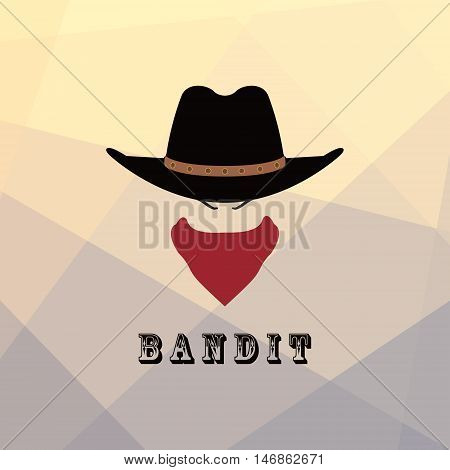 American cowboy head. Bandit Texas icon. Vector illustration.