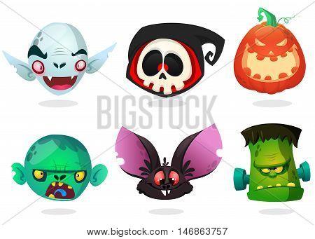 Halloween characters icon set. Cartoon heads of grim reaperblack bat pumpkin Jack o lntern zombie vampire.