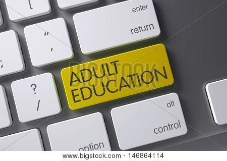 Adult Education Concept: Metallic Keyboard with Adult Education, Selected Focus on Yellow Enter Button. 3D.