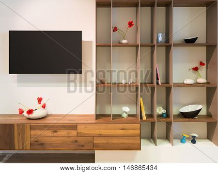 television on wall an wooden timber shelf units with decoration