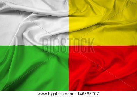 Waving Flag of Plzen Czechia, with beautiful satin background