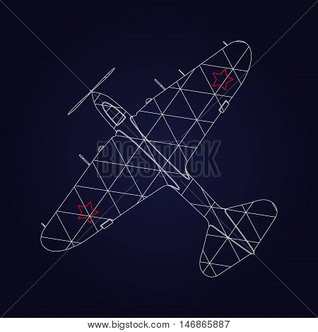 Retro Airplane design on dark blue background. Retro plane. Icon vintage airplane.
