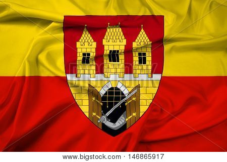 Waving Flag Of Prague With Coat Of Arms (escutcheon Only), Czechia