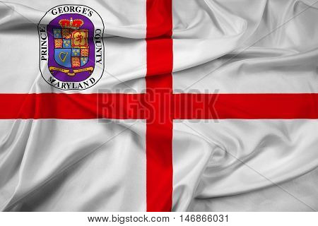 Waving Flag Of Prince George's County, Maryland, Usa