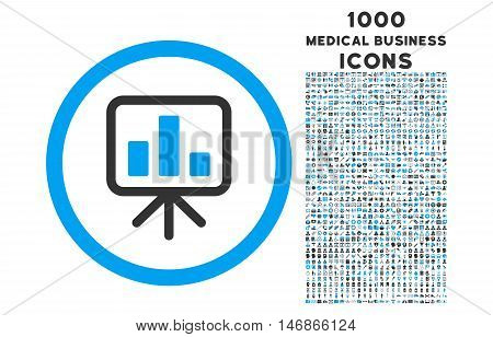 Slideshow Screen rounded glyph bicolor icon with 1000 medical business icons. Set style is flat pictograms, blue and gray colors, white background.