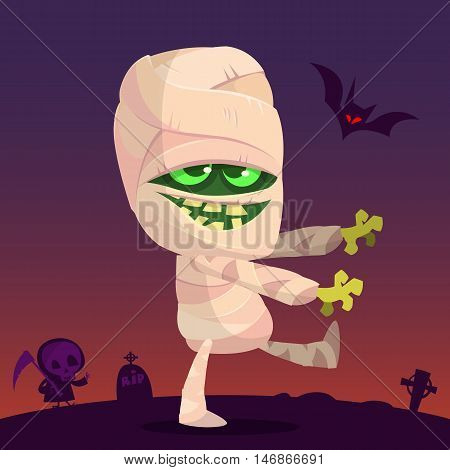 Cartoon walking mummy character. Vector clip art illustration of mummy monster for Halloween isolated on night background with cemetery tombs and walking zombie silhouette
