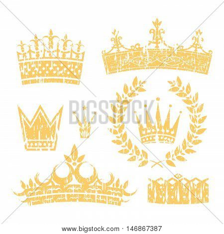 Crowns And Laurel Leaf Wreath Grunge Set