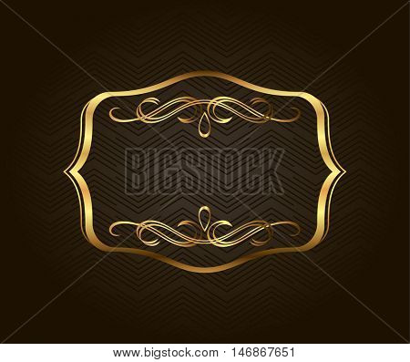 Blank golden vintage frame, banner, label, Vector EPS10. Gold vintage frame. Decorative vector frame with place for text