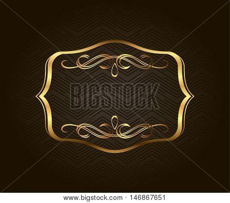 Blank golden vintage frame, banner, label, Vector EPS10. Gold vintage frame. Decorative vector frame with place for text