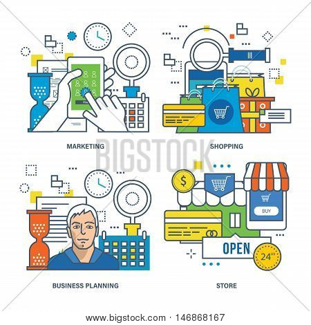 Concept of marketing, online shopping, business planning, store. Color Line icons collection