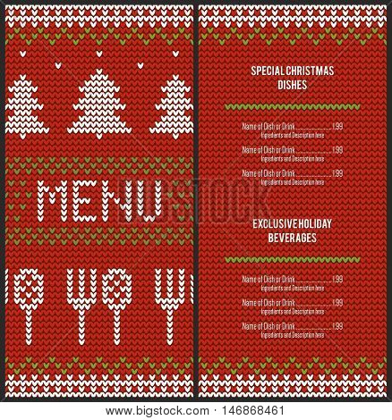 Special Christmas festive menu design. With a christmas sweater background