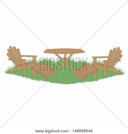 wooden garden table and garden chairs with foot rests on a green lawn