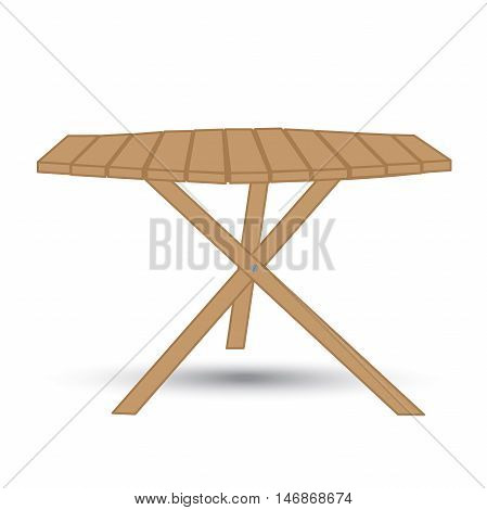 wooden garden table on three legs on a white background