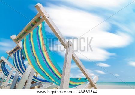 canvas beach bed on the beach with smooth cloud and bluesky