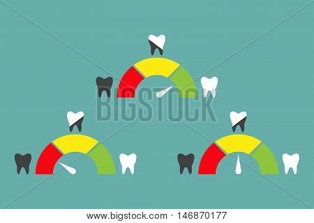 Speedometer or rating meter signs infographic gauge element. Dental concept with teeth. Vector illustration EPS10