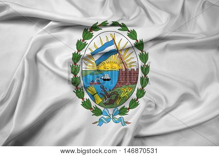 Waving Flag Of Rosario, Santa Fe, Argentina