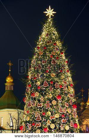 Main Kyiv's New Year tree on Sophia Square in Kyiv, Ukraine