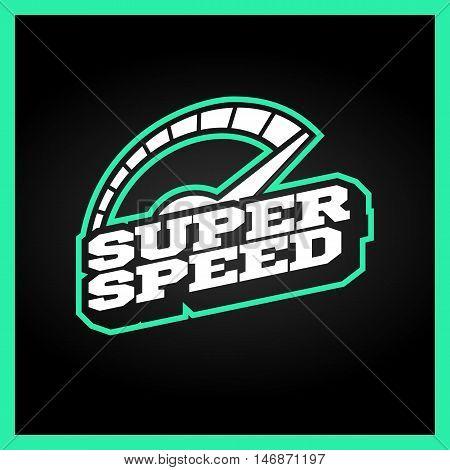 Speedometer Max Super Speed Logo. Retro Text Style Emblem