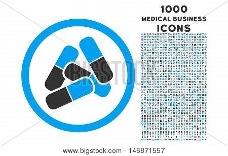 Pills rounded vector bicolor icon with 1000 medical business icons. Set style is flat pictograms, blue and gray colors, white background.