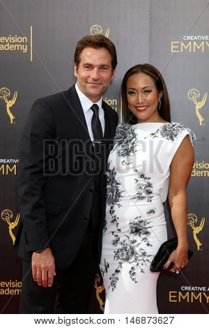 LOS ANGELES - SEP 11:  Robb Derringer, Carrie Ann Inaba at the 2016 Primetime Creative Emmy Awards - Day 2 - Arrivals at the Microsoft Theater on September 11, 2016 in Los Angeles, CA