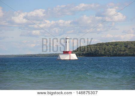 Round Island Passage Light, Round Island Channel in the Straits of Mackinac, Michigan