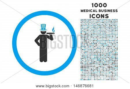American Capitalist rounded vector bicolor icon with 1000 medical business icons. Set style is flat pictograms, blue and gray colors, white background.