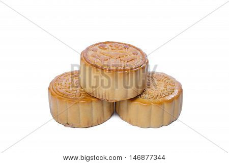 Mid-Autumn Festival stack of mooncake isolated on white background