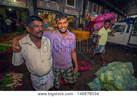 DAMBULLA SRI LANKA - FEBRUARY 17 2016: A typical market scene in Dambulla Sri Lanka. This place is the biggest fruit and vegetable exchange on island.