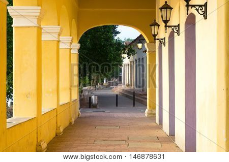 View down a corridor in historic Mompox Colombia